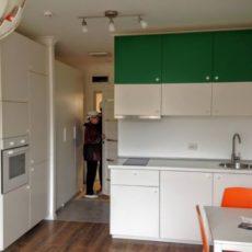Кухня в оранжево-зеленом цвете